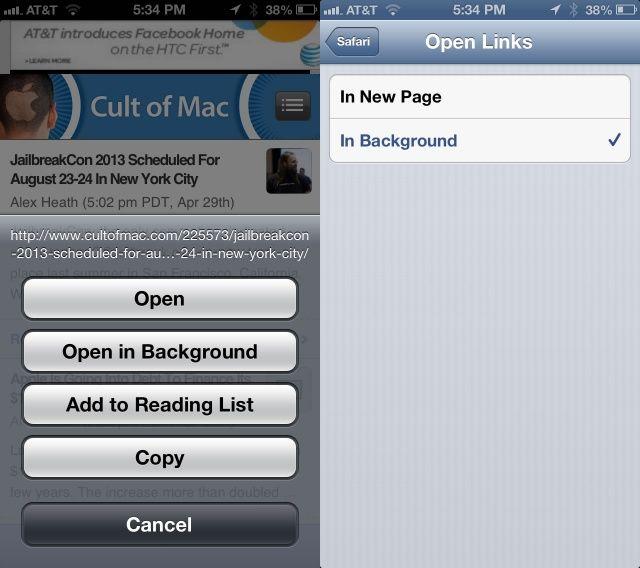 Mobile Safari Background Links