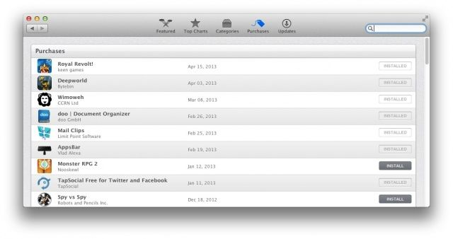 Purchased In Mac App Store