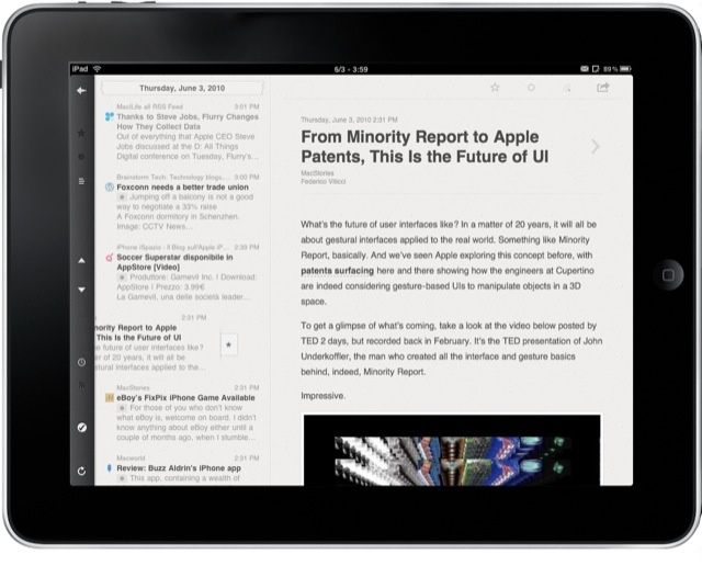 Reeder for iPad - Landscape