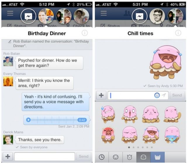 Facebook 6 0 Now In App Store With Chat Heads, Stickers