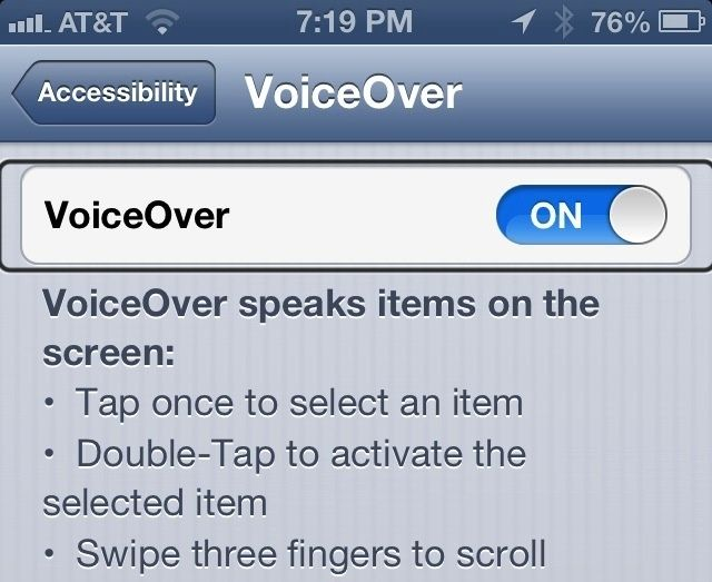 VoiceOver controls in iOS