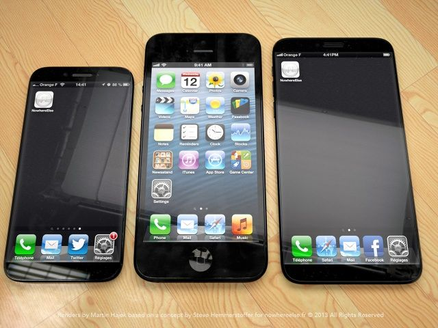 This mockup shows what a family of different sized iPhones might look like.