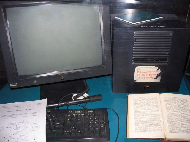 This is the NeXT Computer that Tim Berners-Lee used to create the world wide web.