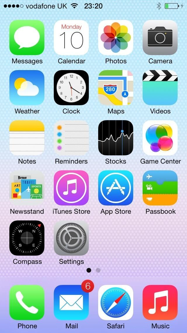 The iOS 7 home screen.