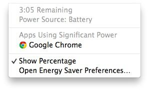 The Battery Status in OS X Mavericks now tells you which app is draining the most battery! Helpful!