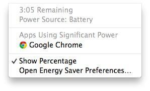 Lo stato della batteria in OS X Mavericks ora ti dice che app è drenante il più batteria!  Utile!