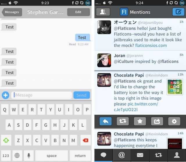 The Messages app and Tweetbot themed by Flaticons.