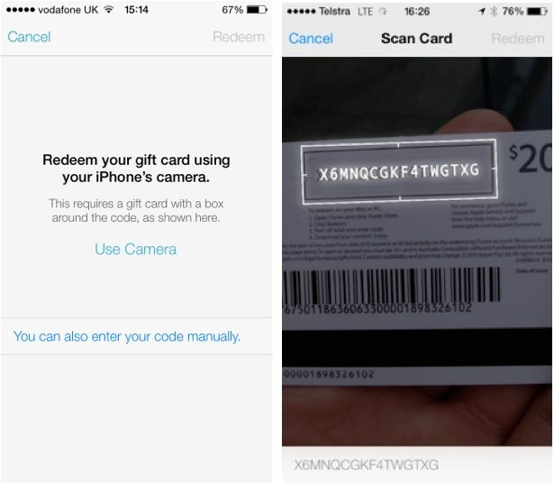 iOS 7 Lets You Redeem iTunes Gift Cards With Your Camera | Cult of Mac
