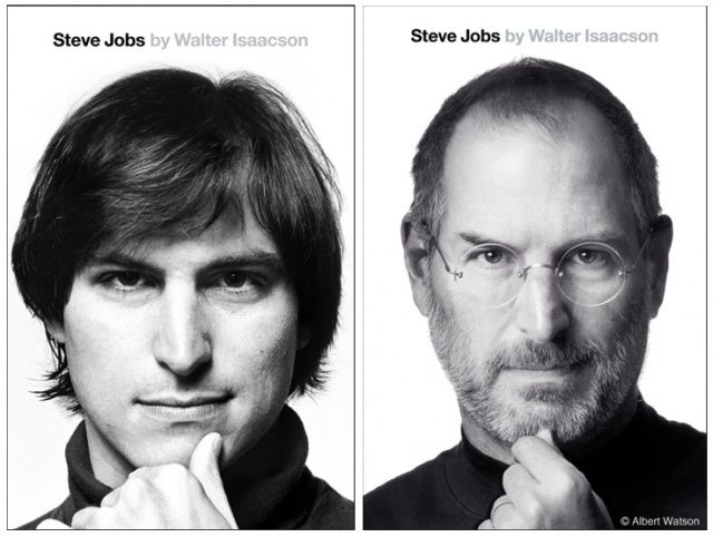 Albert Watson's photo of Steve Jobs, right, is similar to a portrait of Jobs in his younger years.