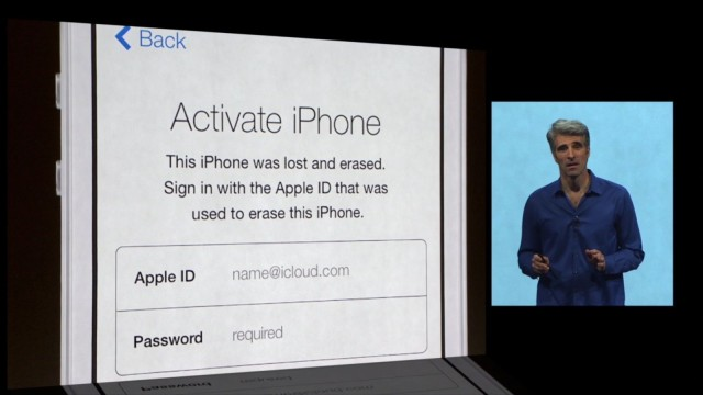 "Craig Ferenghi introduces iOS 7's new ""kill switch"" during the WWDC keynote."