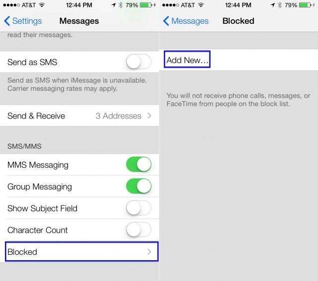 blocked numbers iOS 7 beta
