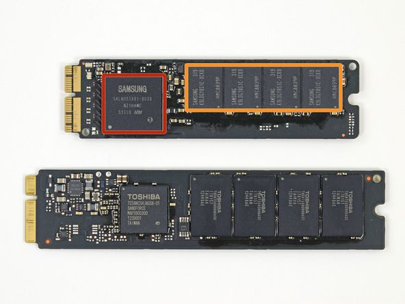The new MacBook Air's SSD (top) vs. the old MacBook Air's SSD.