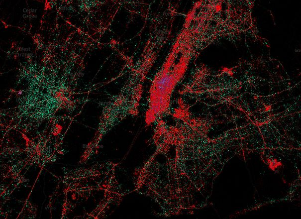 An aerial view of New York City. Red dots are iPhones. Green is for Android. Blackberry is that little bit of purple.