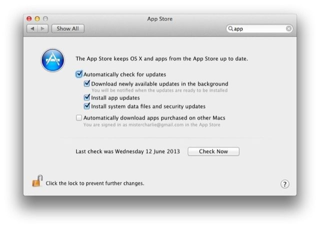 Auto background app updating isn't just for iOS 7 — a brand new pane in System Preferences has been added to take care of App Store update settings.