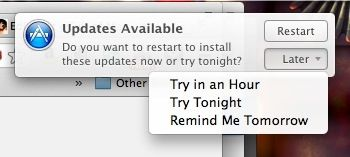 You can also schedule App Updates for later right from Notification Center.