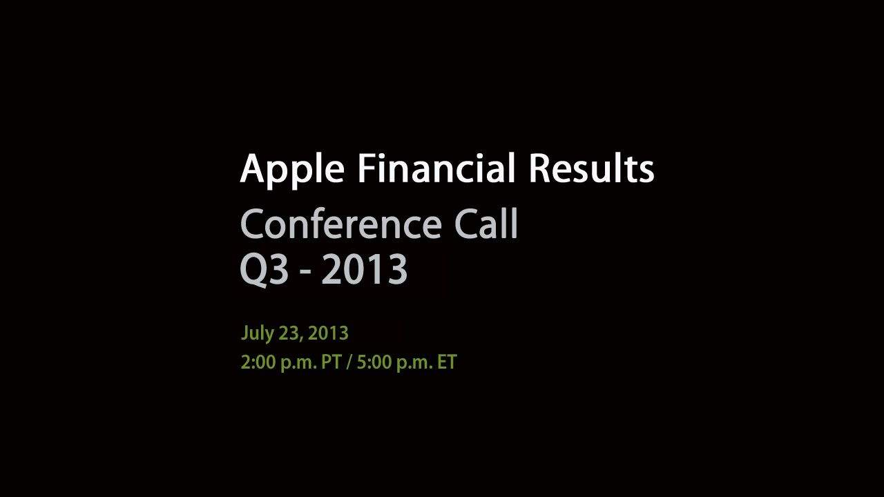 Apple Investor Call Q3