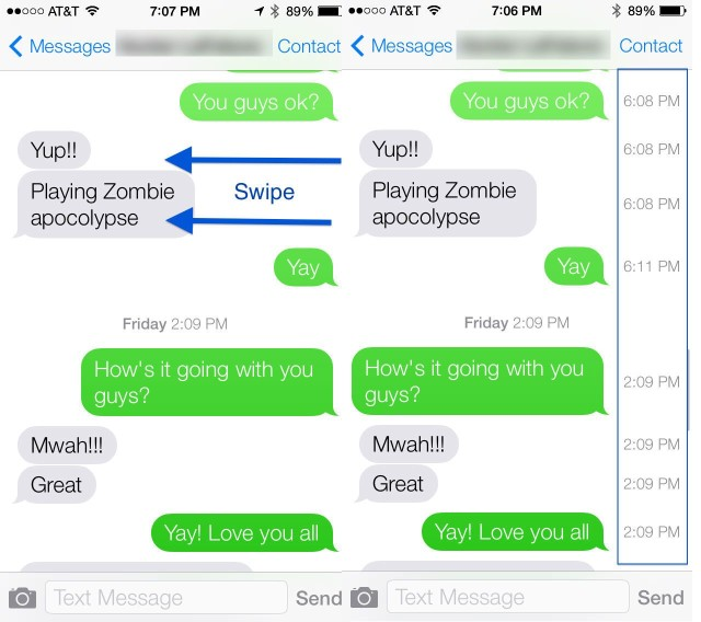 Messages Timestamp iOS 7 beta