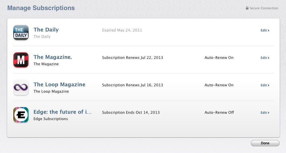 OS X Mavericks Subscriptions