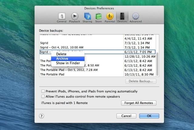 iTunes Archiving