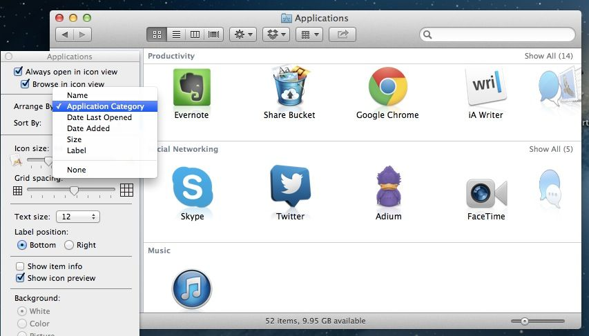 Application Type Arrange In Finder