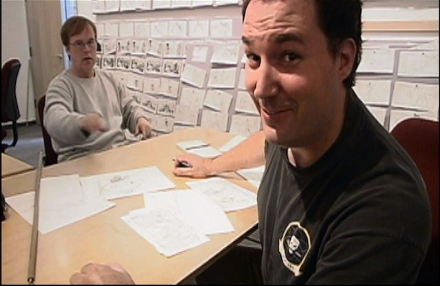 Pixar's Brad Bird and Mark Andrews working on The Incredibles. Picture courtesy of Pixar.