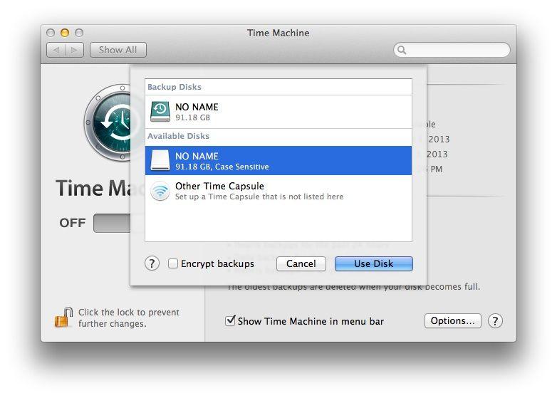 Encrypt Time Machine Backups
