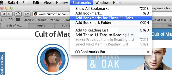 Safari bookmark tabs