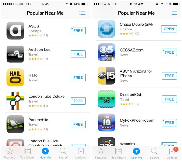 Near Me Feature In Ios 7 App Store Working For More Beta