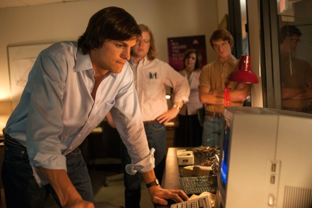 Ashton Kutcher (left) plays the late great Apple leader in new biopic Jobs.