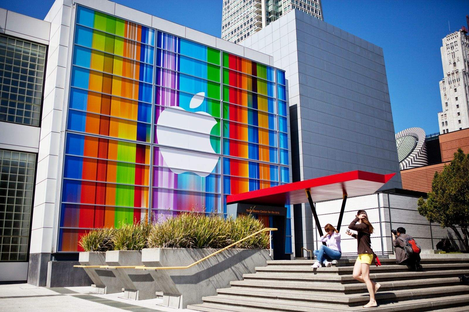 Decorations outside of the Yerba Buena Center in San Francisco for last year's iPhone 5 event