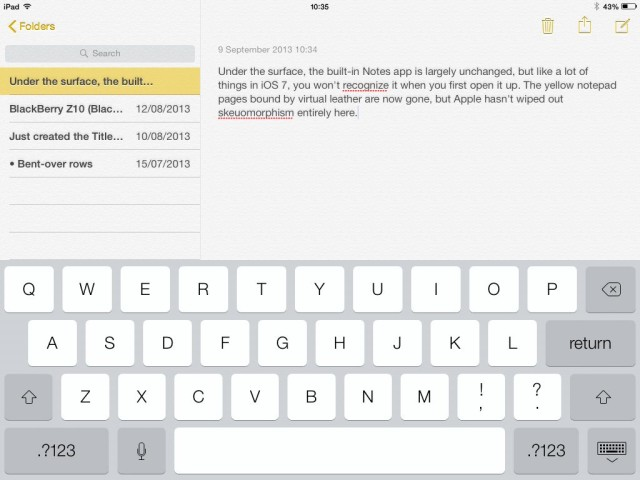 The new Notes app on iPad.