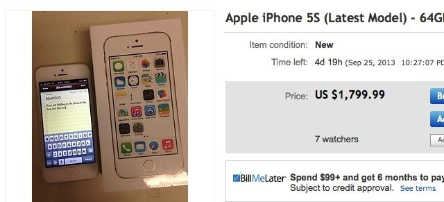 The gold iPhone 5s is going for $1,800 on eBay