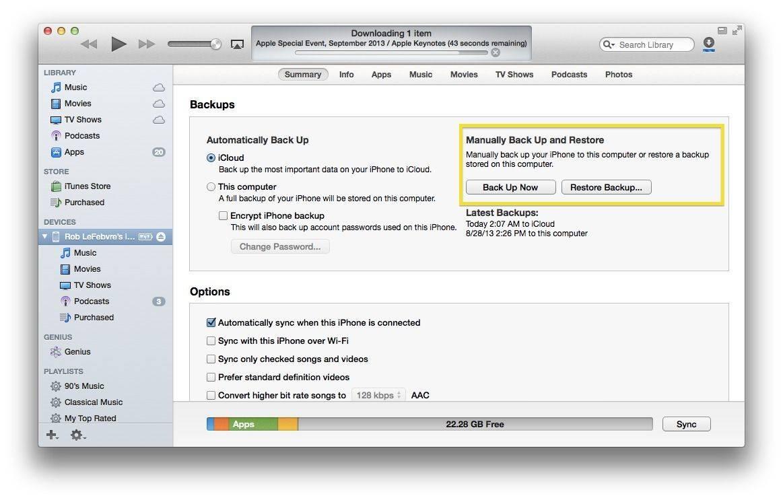 iTunes Backup iOS
