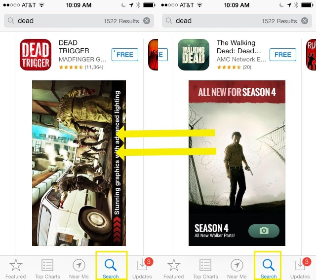 Get Swiftly Back To The Beginning Of App Store Search Results [iOS