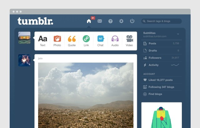 Image result for tumblr dashboard