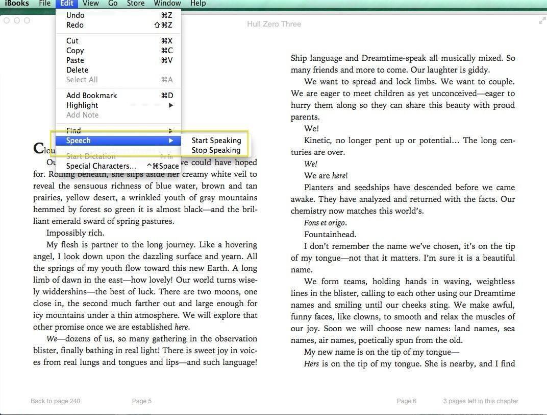 Mavericks iBooks Speech