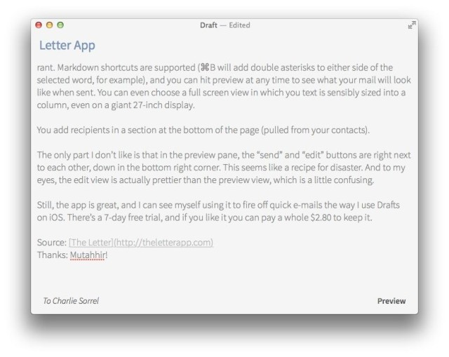 letter a beautiful markdown app just for writing emails