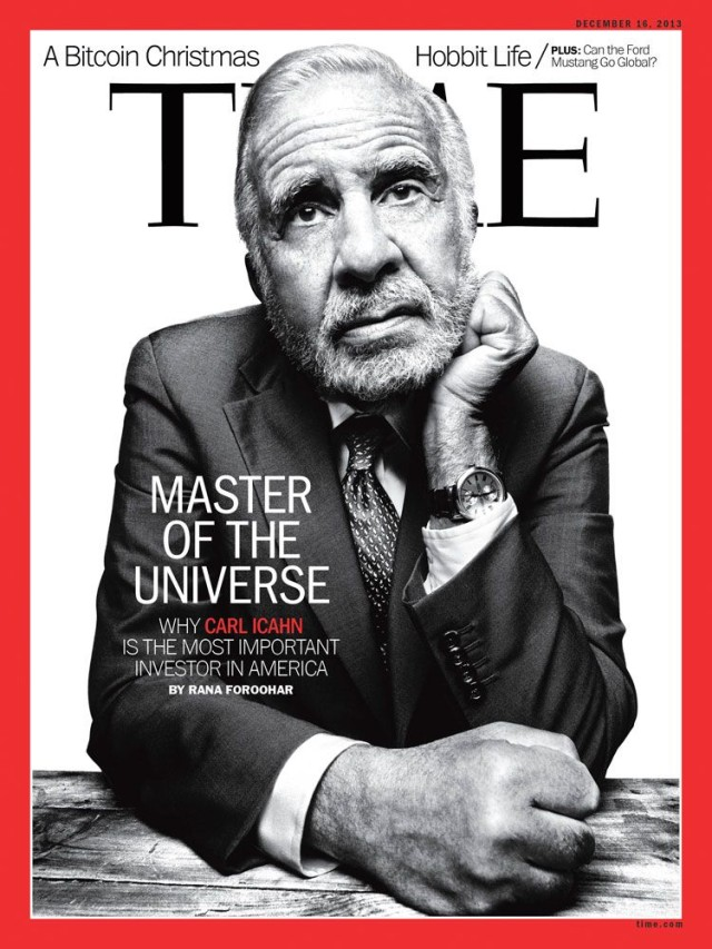 The newest cover for TIME Magazine featuring Carl Icahn, the legendary investor who has set his sights on Apple.