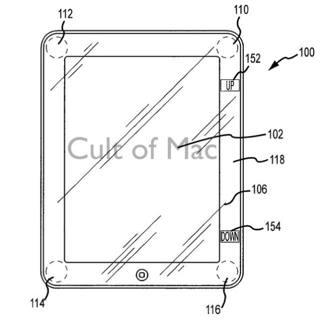 The patent describes a method for incorporating virtual buttons into the iPad bezel, for carrying out tasks like scrolling.