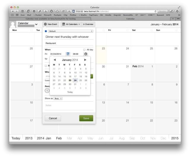 fastmail calendar beta