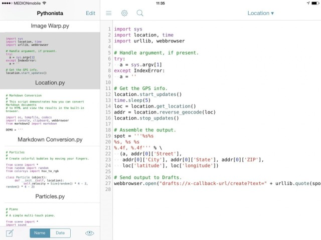 Grab Your Current Location As Plain Text Using Pythonista And Drafts