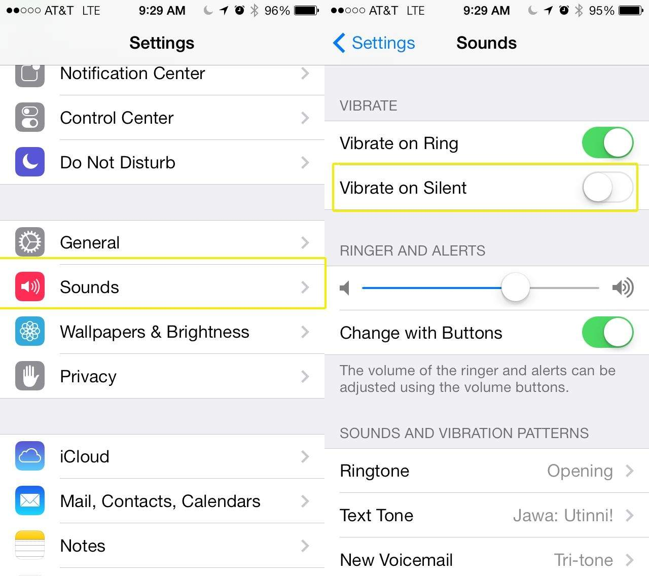 my iphone wont make sound how to turn vibration when in silent mode in ios 7 6214