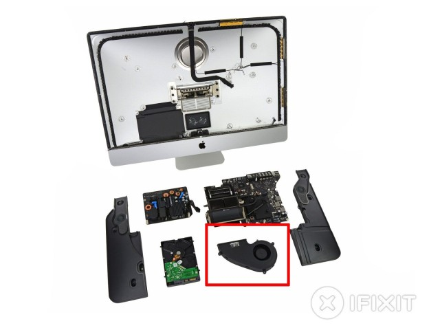 A breakdown of the iMac, with the fan highlighted.