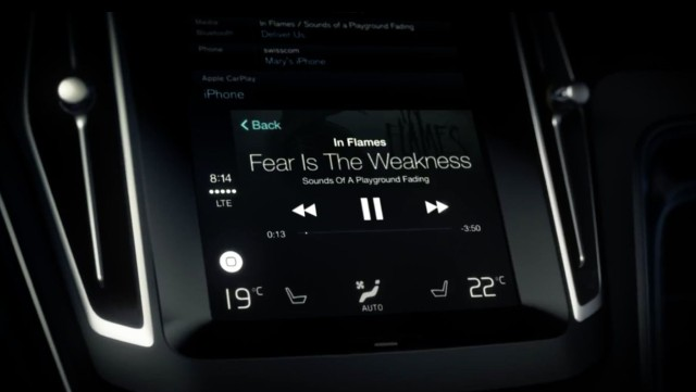 Spotify is one of the select launch partners for Apple's CarPlay. (image courtesy of Volvo)