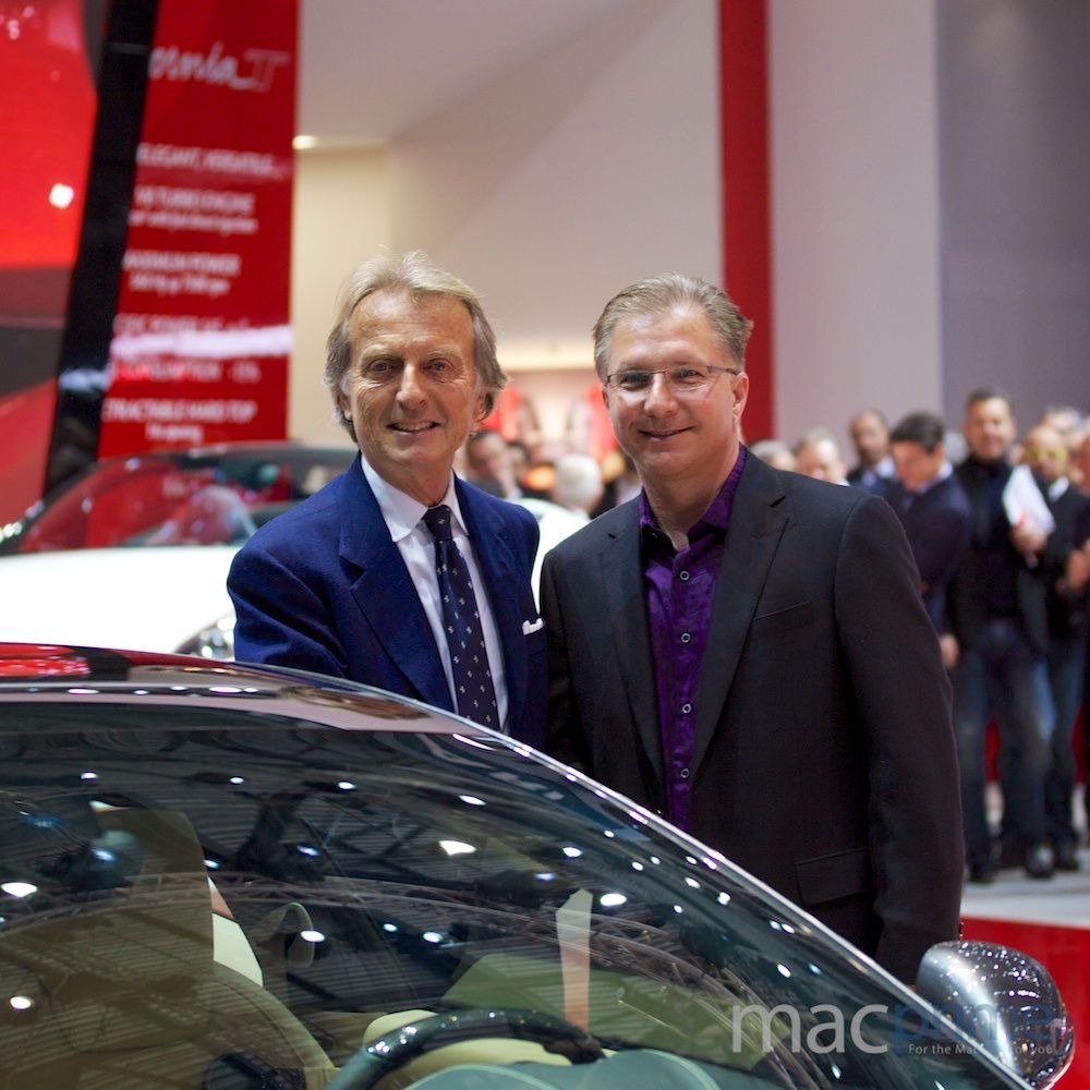 Ferrari chairman Luca di Montezemolo and Apple's Greg Joswiak at the Geneva Motor show