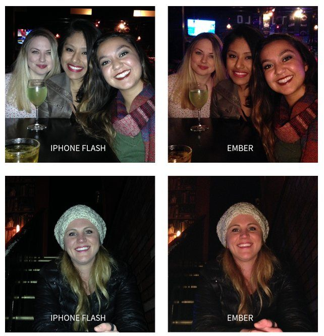 Side-by-side comparisons show how the Ember (right) stacks up against the existing iPhone flash (left)