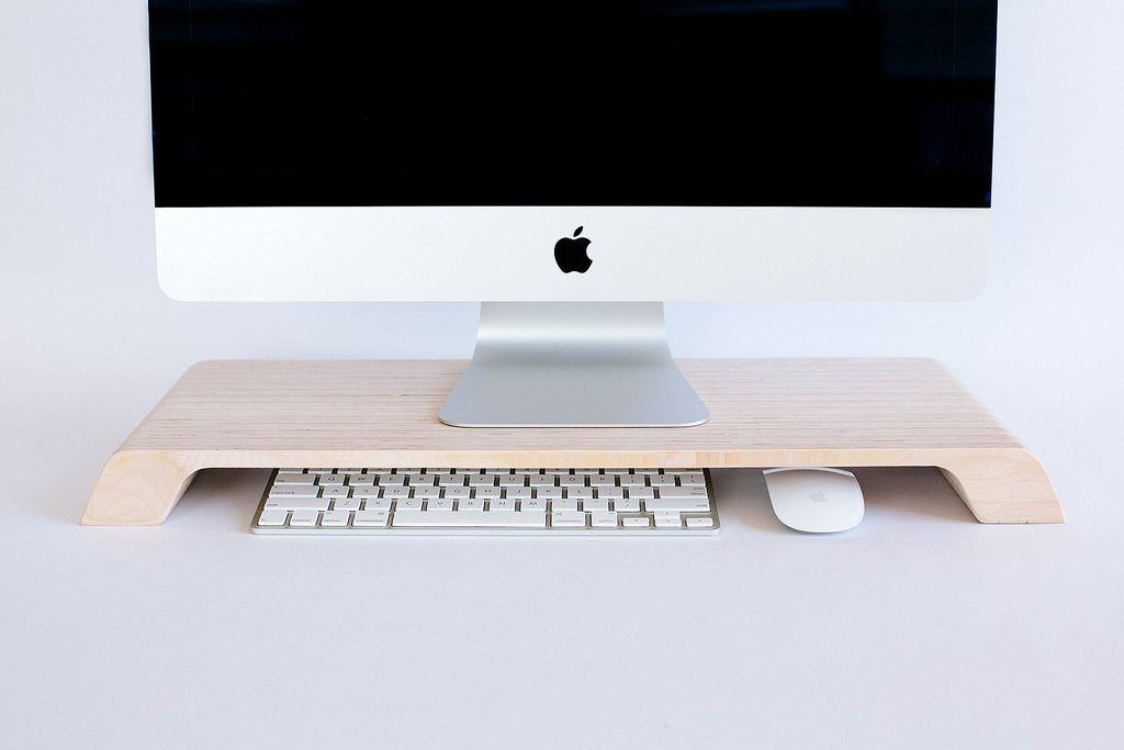 Beautiful Wooden Stand Elevates Your iMac