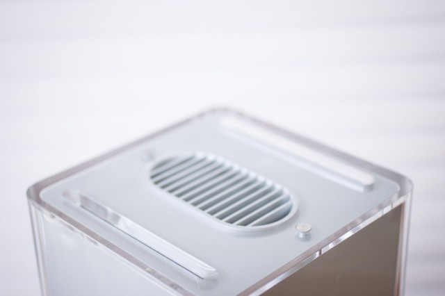 A stylish grill provides ventilation for the fan-free Cube.