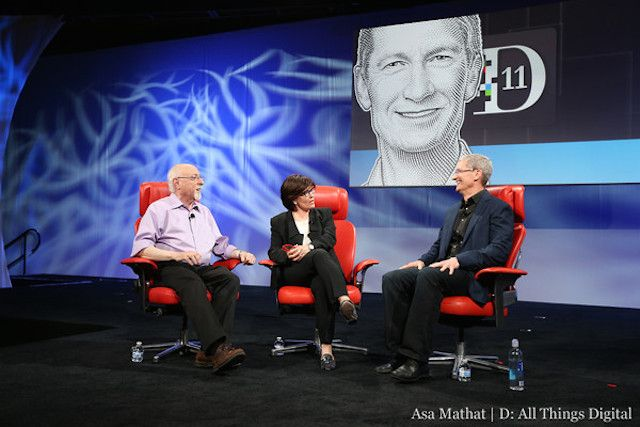 Cook opposite Mossberg and Swisher at the D11 conference last year