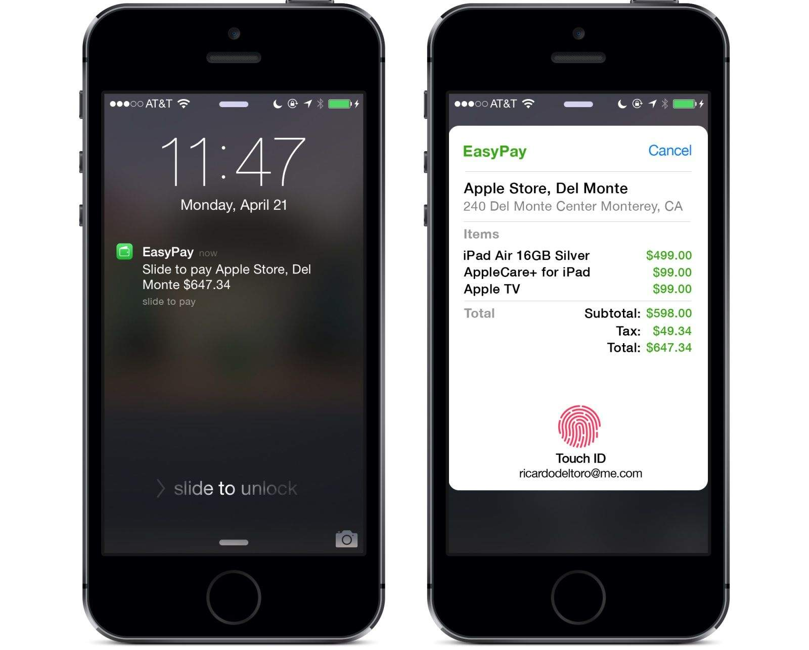 An 'EasyPay' concept that imagines how Apple could handle mobile payments.